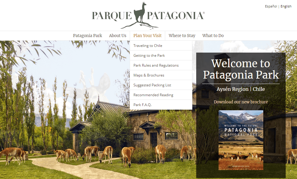 Content marketing for hotels Patagonia Park screenshot