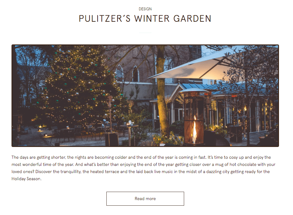 Content marketing for hotels Pulitzer Amsterdam screenshot2