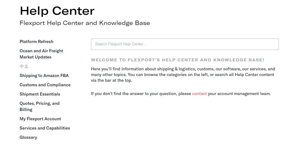 Flexport's help center is an example of good content marketing for logistics