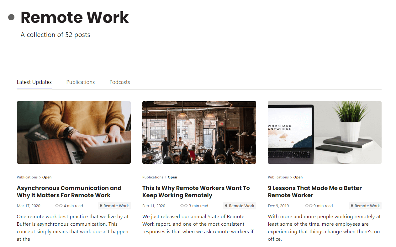 buffer remote work b2b content example